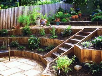 Contact andrew spacie landscape garden design market for Small split level garden ideas
