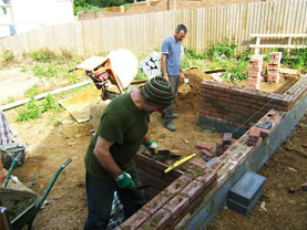 construction works for a landscape garden project