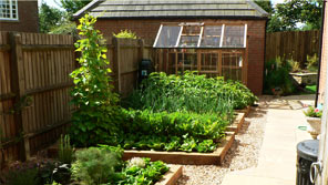 incorperating vegetable growing areas into a landscape garden