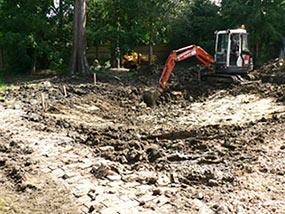 The beginning of the pond construction