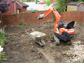 excavation works for the sloping garden