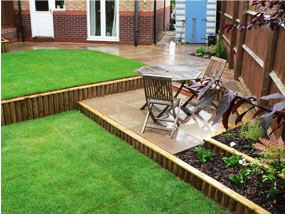 sloping garden design garden completed edging pool house small field two levels ideas - Garden Ideas On Two Levels